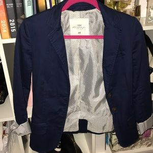 Navy blazer with shoulder pads